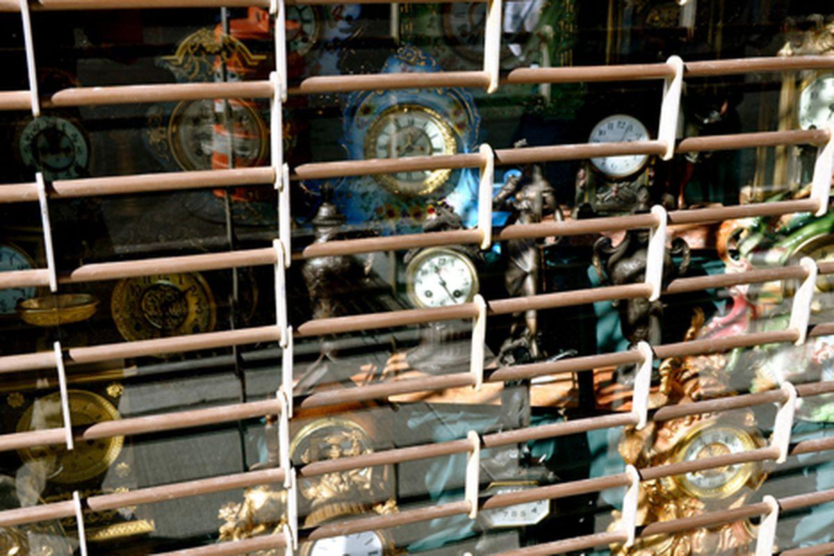 "Locked up clocks via <a href=""http://www.flickr.com/photos/essgee/3953965527/in/pool-rackedny"">EssG</a>/Racked Flickr Pool"