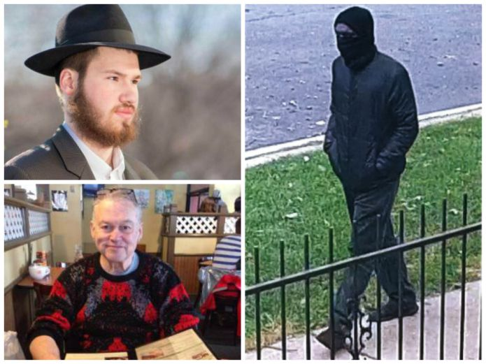 Police released a surveillance photo of a masked man suspected in the murders of Eliyahu Moscowitz (top left) and Douglass Watts (bottom left).   Provided photos