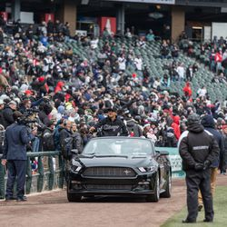 White Sox players entered the field in luxury cars. | Erin Brown/Sun-Times