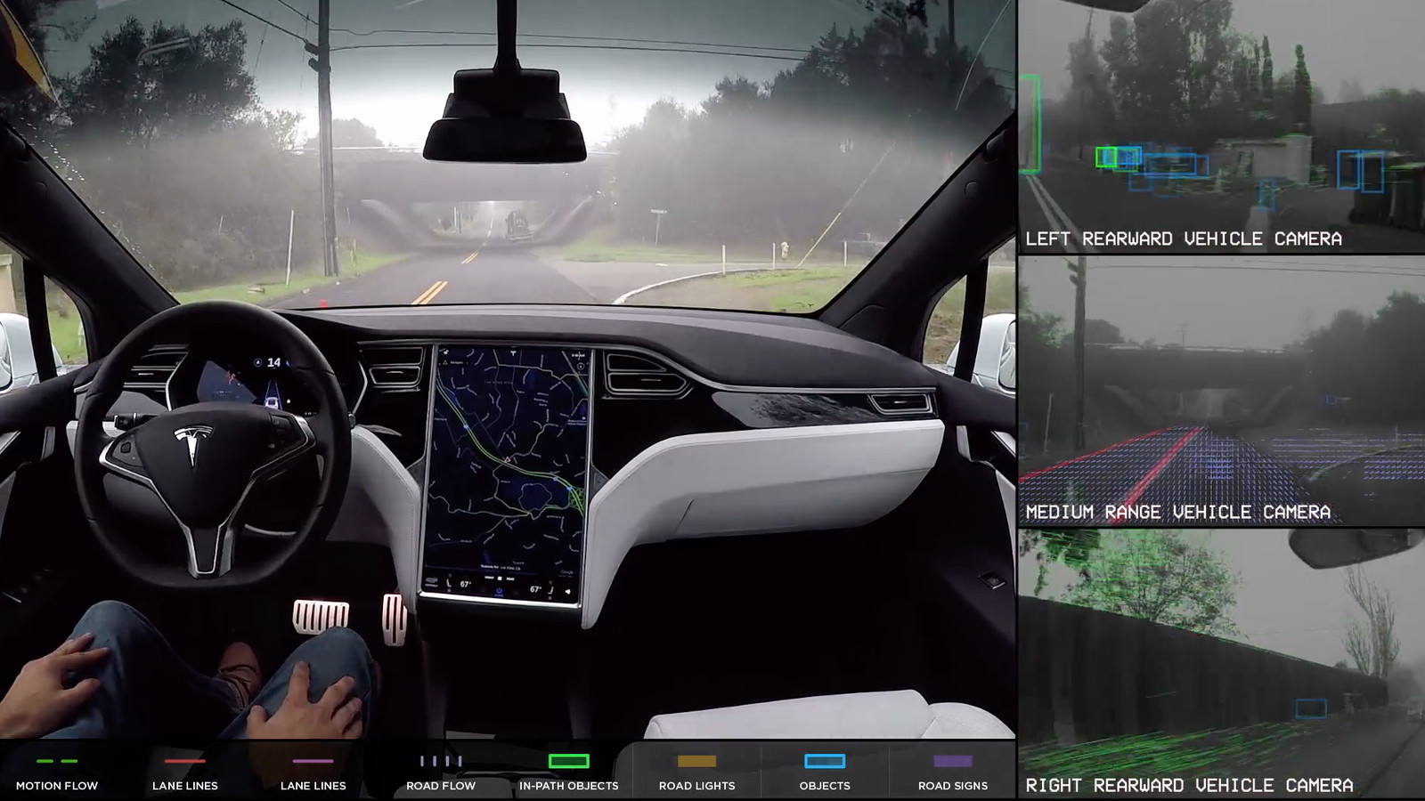 Tesla shows what its self-driving cars see while on the ...