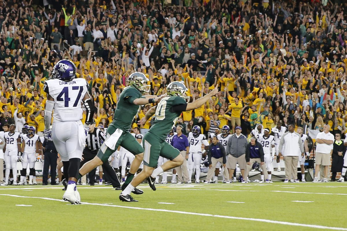 Baylor players and fans celebrate after finishing off a 21-point fourth-quarter comeback to beat TCU.