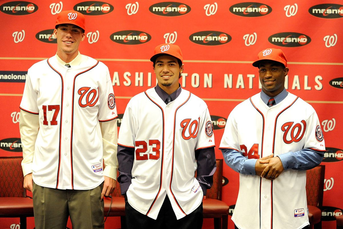 Two out of three of these 2011 draft picks were selected in the 4th round of a 20 team dynasty league minors draft.  (Photo by Greg Fiume/Getty Images)