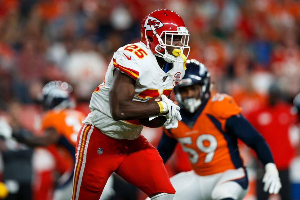 Running back LeSean McCoy of the Kansas City Chiefs runs with the football against the Denver Broncos during the first quarter at Empower Field at Mile High on October 17, 2019 in Denver, Colorado.