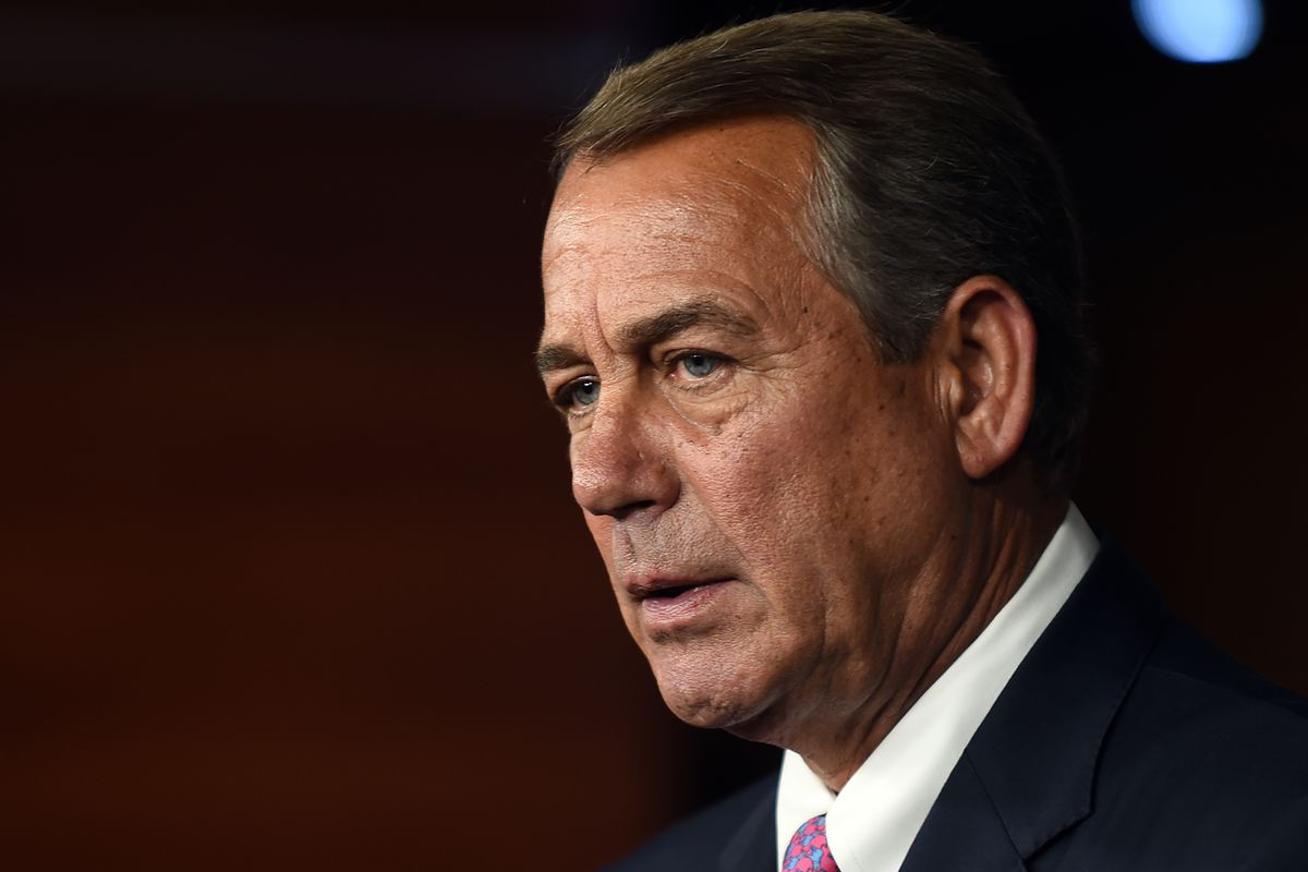 House Speaker John Boehner holds his weekly news conference on Capitol Hill on July 29, 2015, in Washington, DC.
