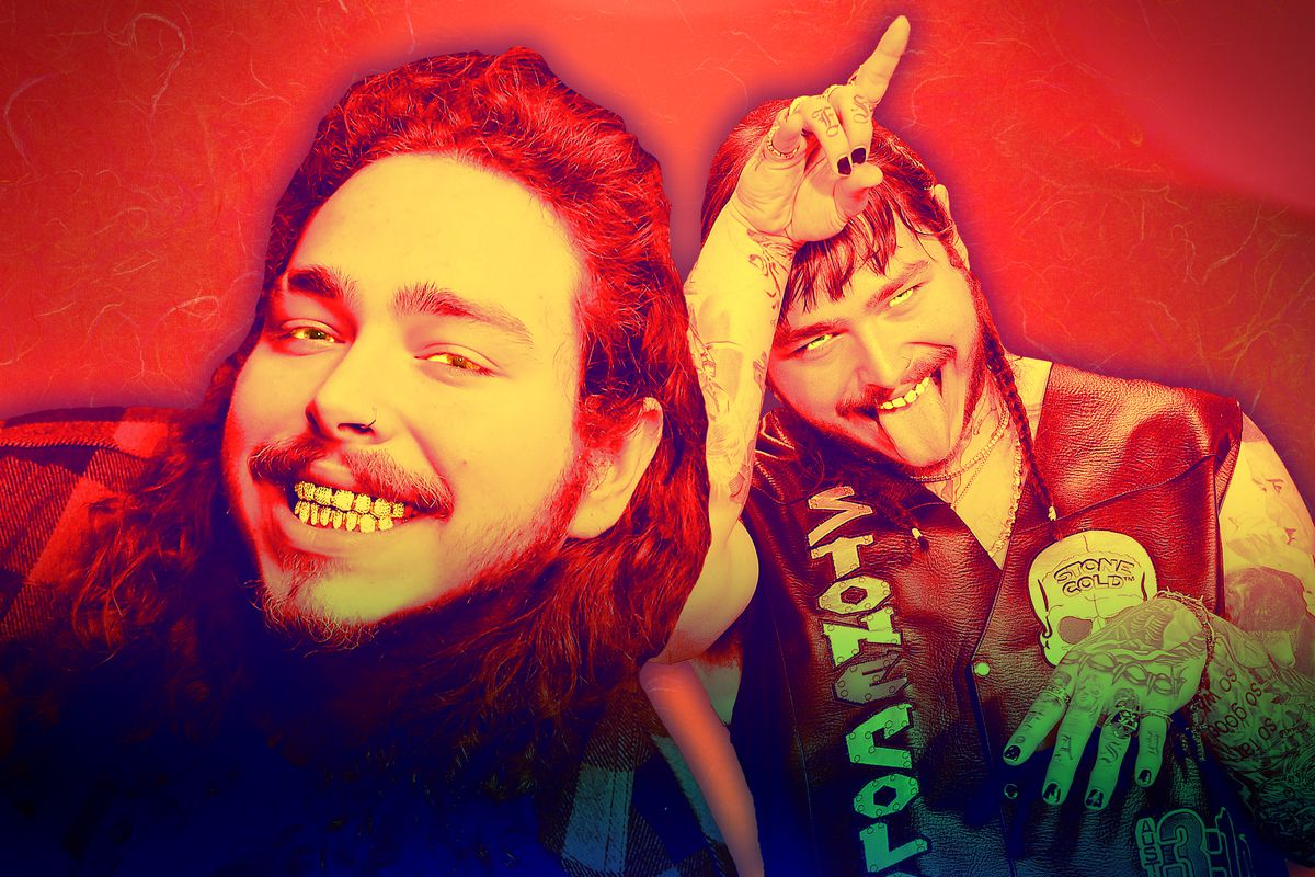 A photo illustration of the rapper Post Malone
