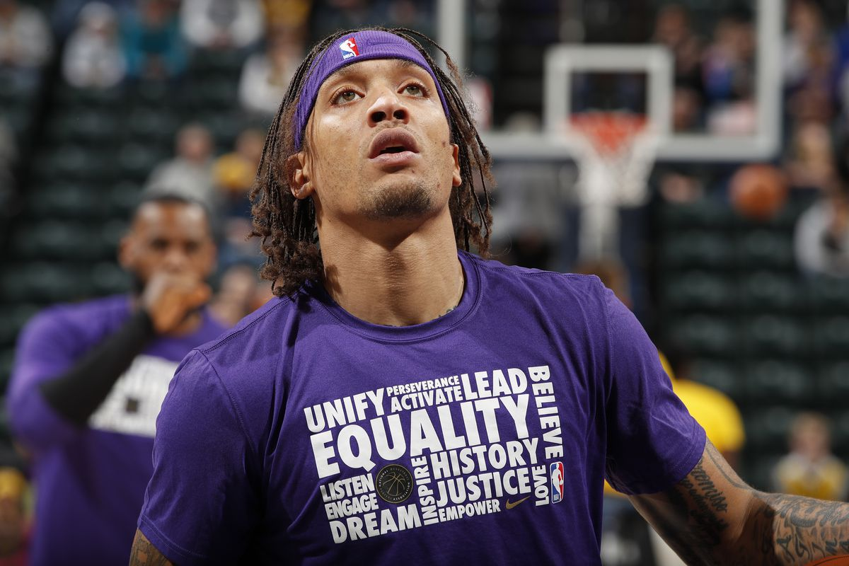 Michael Beasley of the Los Angeles Lakers warms up before the game against the Indiana Pacers on February 5, 2019 at Bankers Life Fieldhouse in Indianapolis, Indiana.