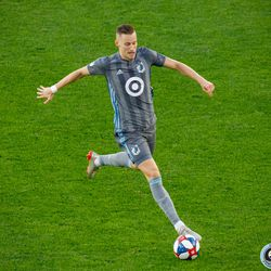 July 10, 2019 - Saint Paul, Minnesota, United States - Minnesota United midfielder Ján Greguš (8)dribbles the ball during the quarter-final match of the US Open Cup between Minnesota United and New Mexico United at Allianz Field.