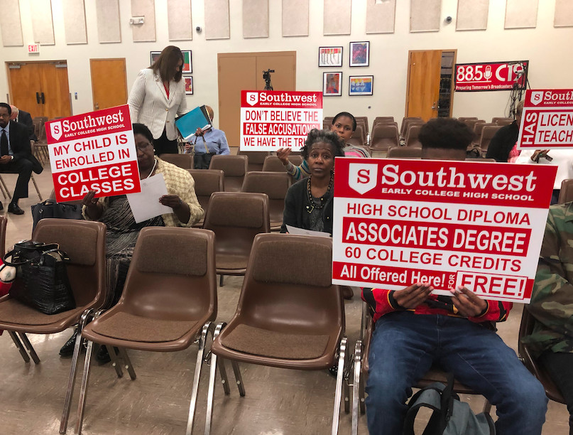 Parents and students protest Shelby County Schools's recommendation to close Southwest Early College High School, which aims to graduate students with associates degrees on top of high school diplomas.
