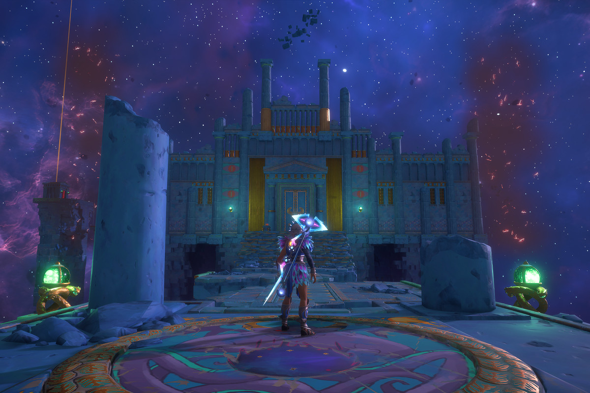 The main character of Immortals Fenyx Rising stands in front of a gate