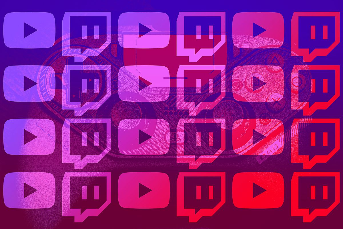 Twitch and YouTube icons overlay a game controller