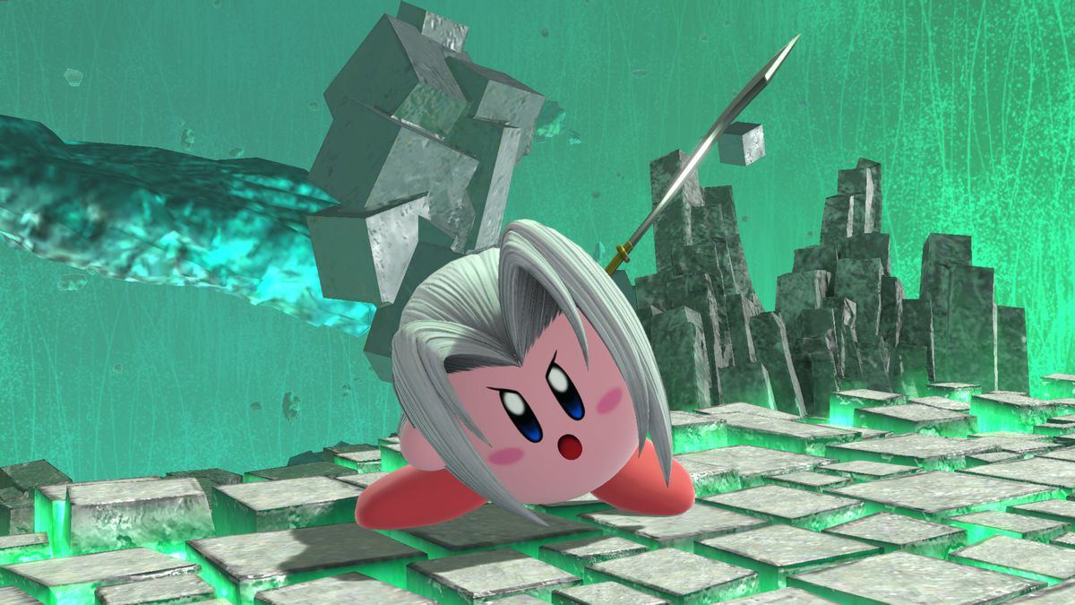 Kirby as Sephiroth in a screenshot from Super Smash Bros. Ultimate