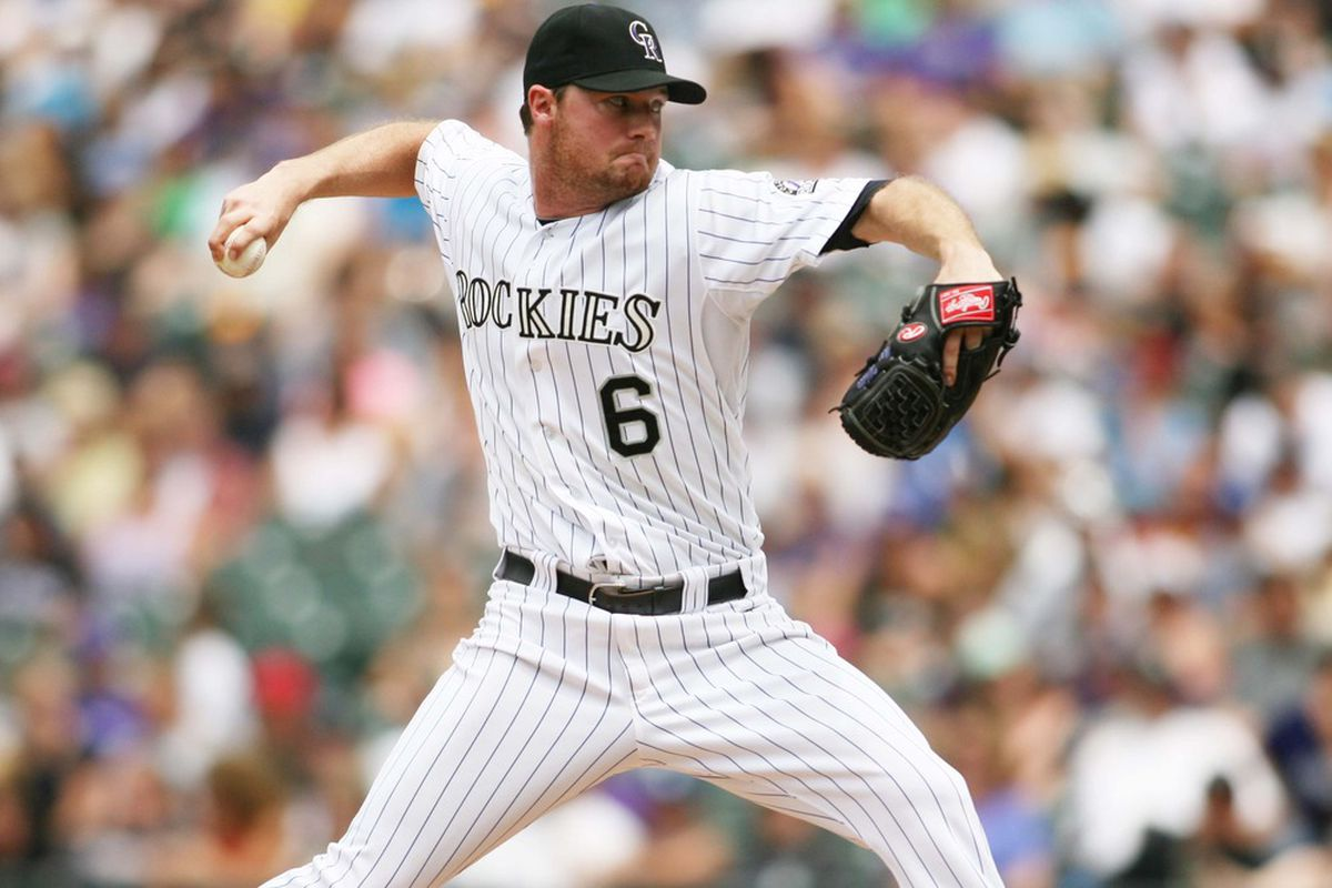 June 3, 2012; Denver, CO, USA; Colorado Rockies pitcher Alex White (6) delivers a pitch during the first inning against the Los Angeles Dodgers at Coors Field. Mandatory Credit: Chris Humphreys-US PRESSWIRE
