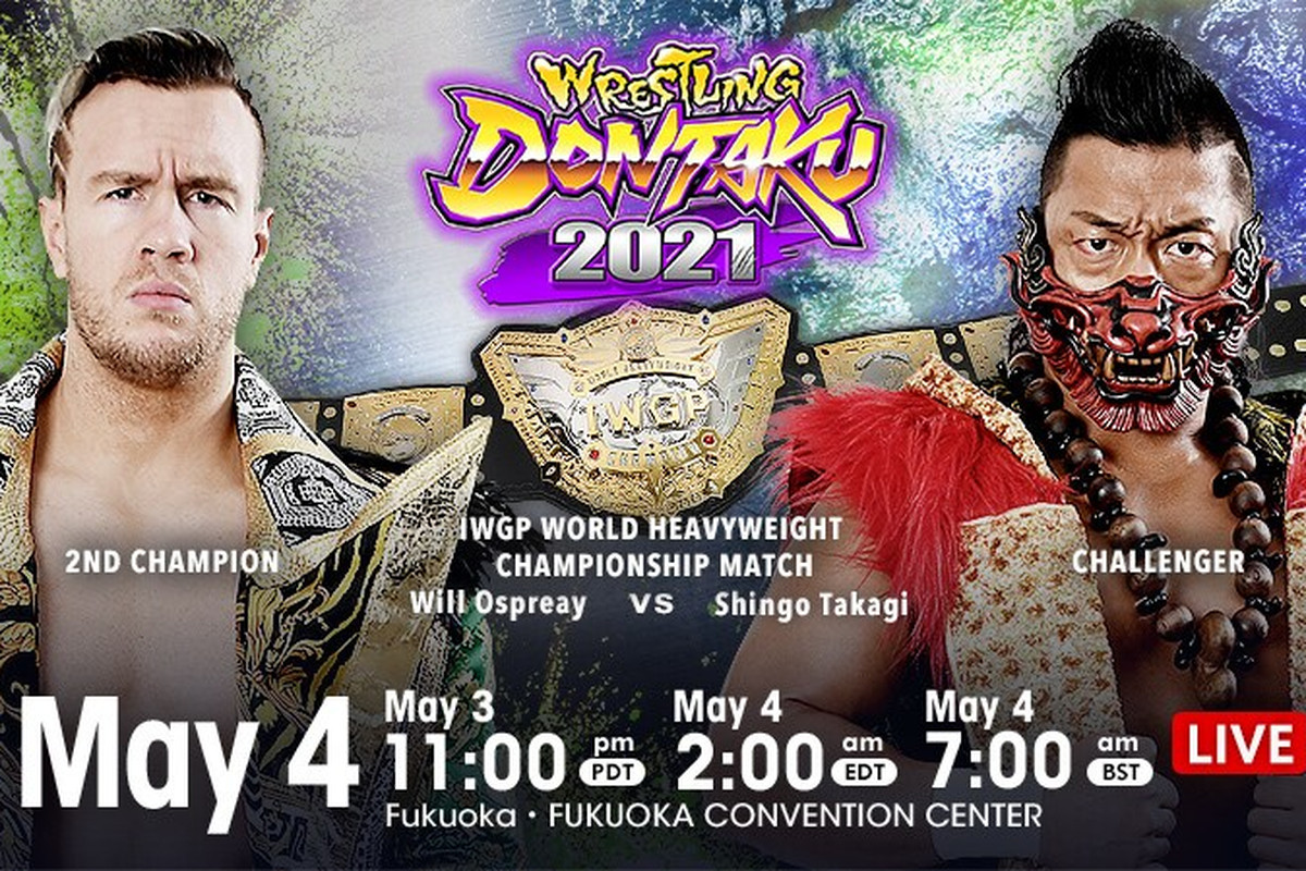 Match graphic for Shingo Takagi vs. Will Ospreay at NJPW Wrestling Dontaku 2021