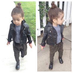 Hall of Fame kids tee, 77kids leather jacket, Zara kids leopard harem pants and boots