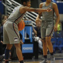 UConn's Crystal Dangerfield (5) points out instructions during the Notre Dame Fighting Irish vs UConn Huskies women's college basketball game in the Women's Jimmy V Classic at the XL Center in Hartford, CT on December 3, 2017.
