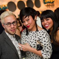 Roy from Most Williamsburgy winner Alter poses with the lovely ladies of Best Brooklyn Store nominee Dalaga.