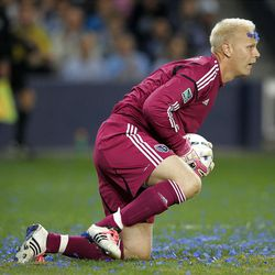 KANSAS CITY, KS - APRIL 14:  Goalkeeper Jimmy Nielsen #1 of Sporting Kansas City makes a save during the Major League Soccer game against  Real Salt Lake on April 14, 2012 at Livestrong Sporting Park in Kansas City, Kansas.  (Photo by Jamie Squire/Getty Images)