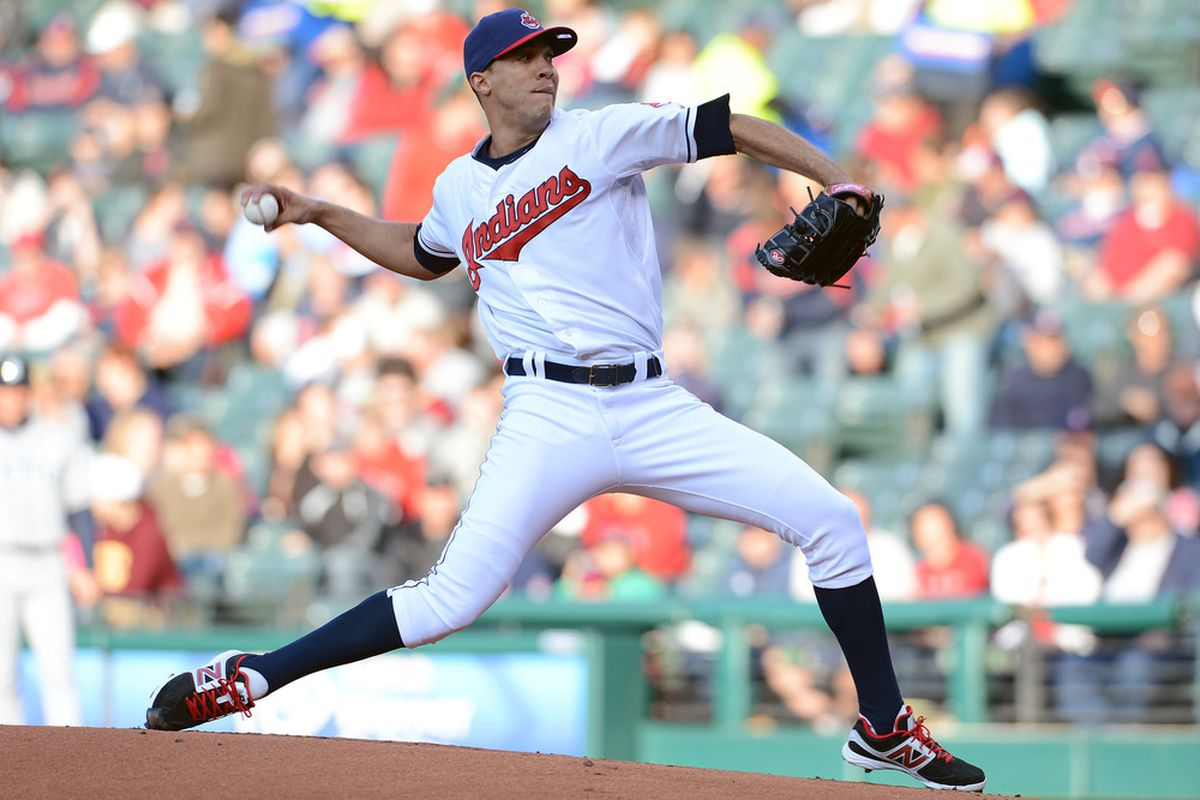 CLEVELAND, OH - MAY 16: Starting pitcher Ubaldo Jimenez #30 of the Cleveland Indians pitches during the first inning against the Seattle Mariners at Progressive Field on May 16, 2012 in Cleveland, Ohio. (Photo by Jason Miller/Getty Images)