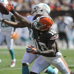 Sep 8, 2013; Cleveland, OH, USA; Cleveland Browns wide receiver Greg Little (18) and Miami Dolphins cornerback Dimitri Patterson (24) fight for a pass during the second quarter at FirstEnergy Stadium. Patterson intercepted the pass.