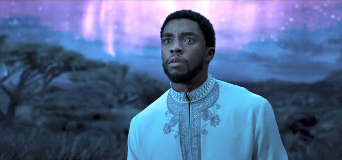 Chadwick Boseman as T'Challa, the Black Panther in a trailer for Black Panther.
