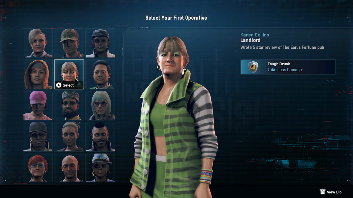 "character selection screen for Watch Dogs Legion showing a woman, in garish makeup and hoop earrings, is a ""tough drunk"" who ""takes less damage"""