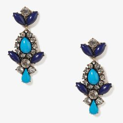 """<b>Forever 21</b> Colored Bead Teardrop Earrings in navy/clear, <a href=""""http://www.forever21.com/Product/Product.aspx?BR=f21&Category=acc_earrings_teardrop&ProductID=1030711975&VariantID="""">$6.80</a>"""