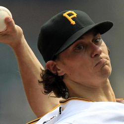 Pittsburgh Pirates pitcher Jeff Locke (49)delivers during the second inning against the Houston Astros in a baseball game in Pittsburgh Monday, Sept. 3, 2012.