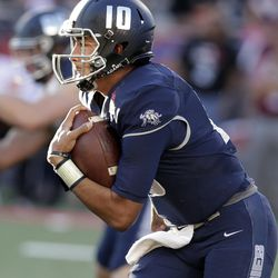 Utah State quarterback Jordan Love during an NCAA college football bowl game against New Mexico State, Friday, Dec. 29, 2017, in Tucson, Ariz. (AP Photo/Rick Scuteri)