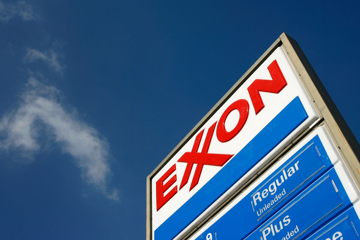 An Exxon gas station advertises its gas prices on February 1, 2008 in Burbank, California.