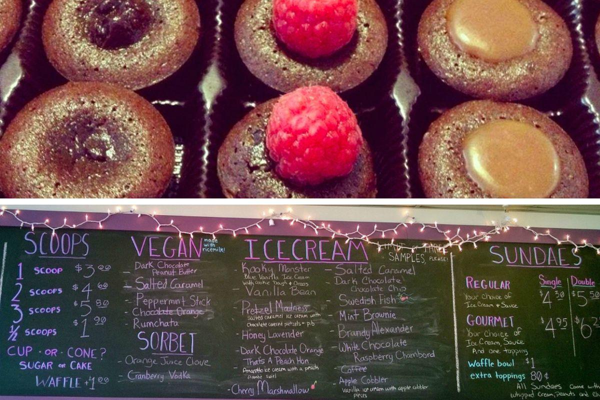 (top) Chez Chloe's lava cakes, (bottom) Treat Dreams.