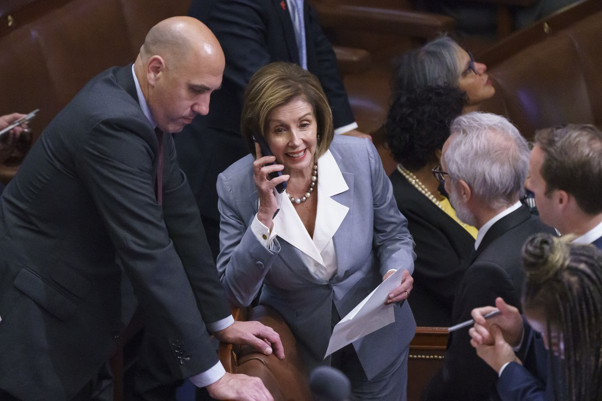 Speaker of the House Nancy Pelosi, D-Calif., manages the vote on the House floor on the creation of a select committee to investigate the Jan. 6 Capitol insurrection, at the Capitol in Washington, Wednesday, June 30, 2021.