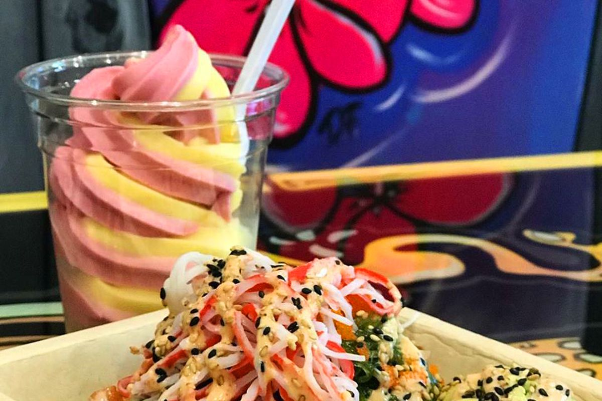 A build-your-own poke bowl and a serving of Dole Whip from the Island Fin Poke Company.