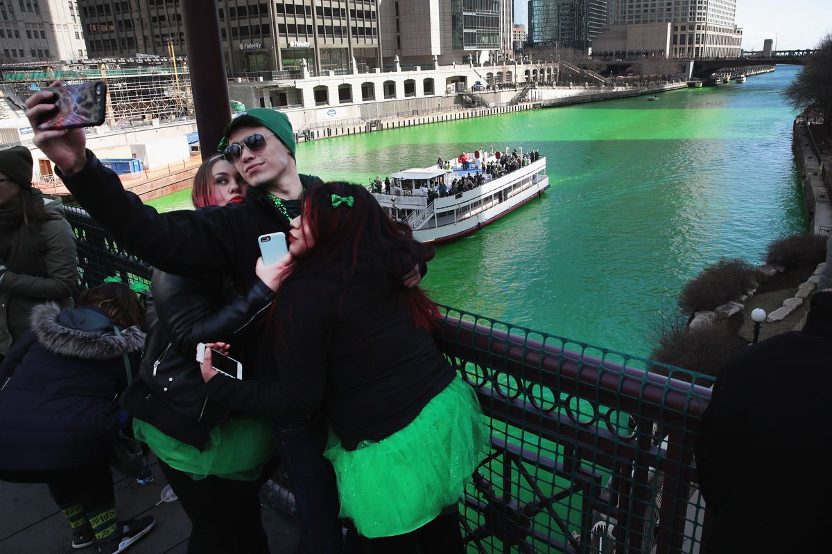 Chicago River Dyed Green In Annual St. Patrick's Day Tradition