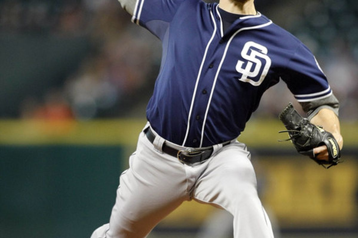 Jun 28, 2012; Houston, TX, USA; San Diego Padres starting pitcher Andrew Cashner (34) throws a pitch against the Houston Astros in the fourth inning at Minute Maid Park. Mandatory Credit: Brett Davis-US PRESSWIRE
