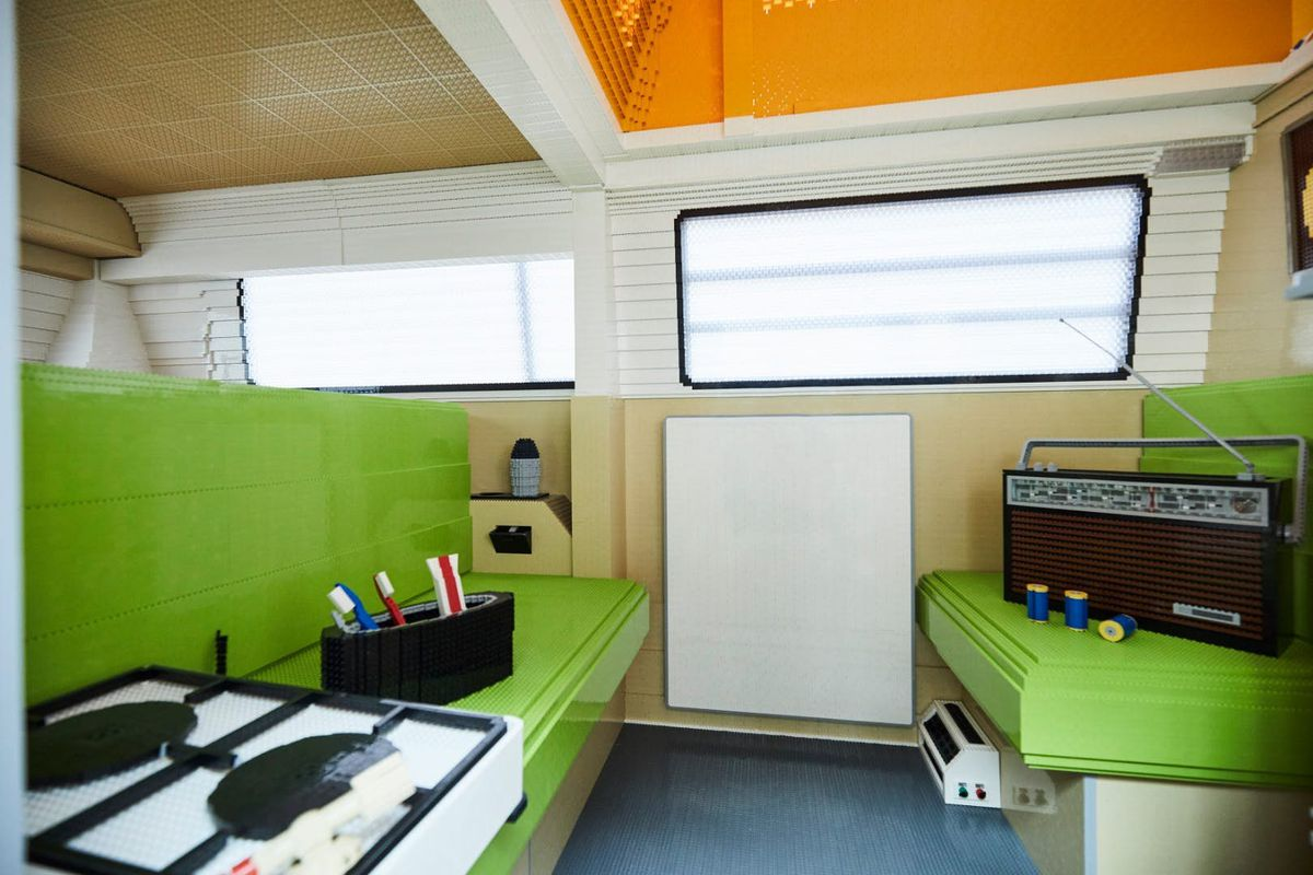 Interior of camper with green seats