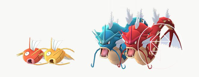 Shiny Magikarp and Gyarados stand next to their normal forms. Shiny Magikarp is gold, whereas Shiny Gyarados is red.