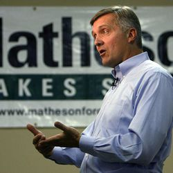 Rep. Jim Matheson answers questions during a media availability in West Jordan, Monday, Oct. 1, 2012.