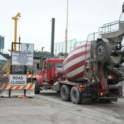 Concrete truck making a delivery on Waveland