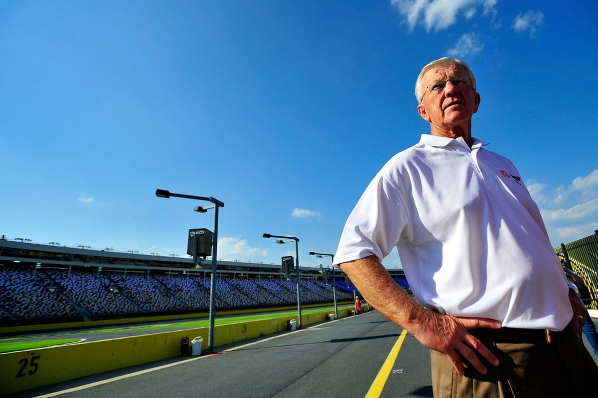 CHARLOTTE, NC - MAY 20:  Joe Gibbs looks on during qualifying for the NASCAR Sprint Showdown at Charlotte Motor Speedway on May 20, 2011 in Charlotte, North Carolina.  (Photo by Jason Smith/Getty Images for NASCAR)