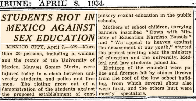 Sex education newspaper clipping