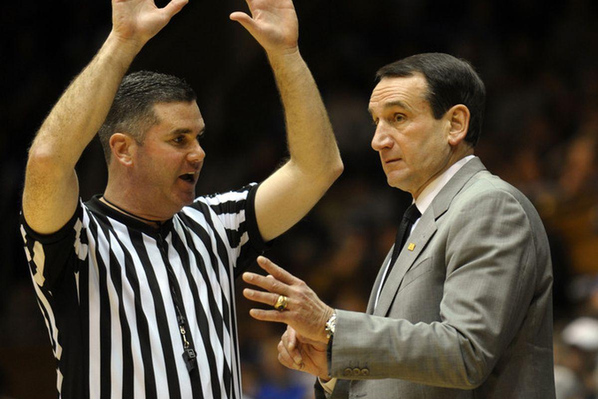 Duke head coach Mike Krzyzewski hosts Ohio State in the 2012 Big Ten/ACC Challenge.