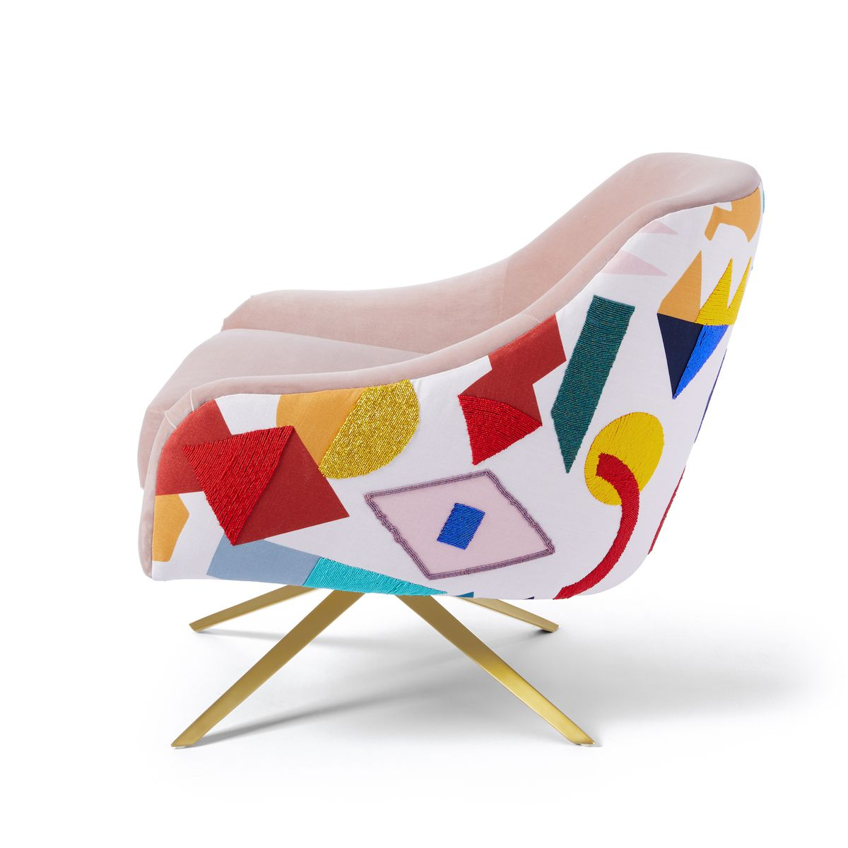 Swivel chair with bright beaded pattern