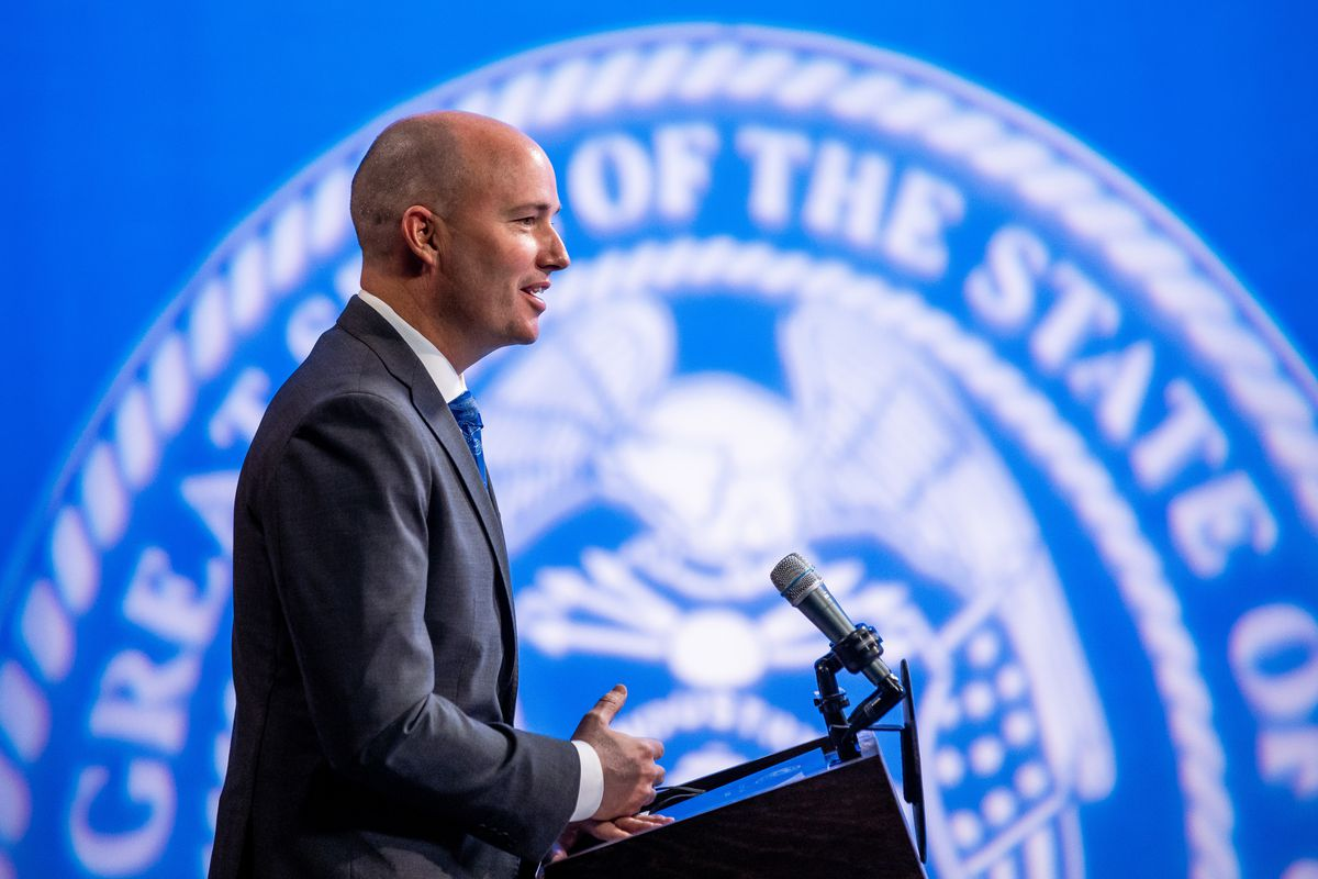 Gov. Spencer Cox speaks during his monthly news conference at PBS Utah in Salt Lake City on Thursday, March 18, 2021.