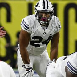BYU running back Algernon Brown (24) during the second half of an NCAA college football game against Arizona, Saturday, Sept. 3, 2016, in Phoenix. BYU defeated Arizona 18-16. (AP Photo/Rick Scuteri)