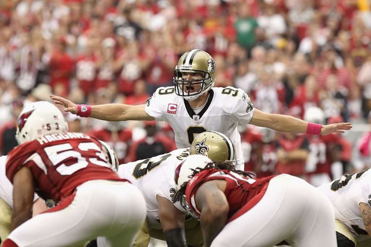 Quarterback Drew Brees #9 of the New Orleans Saints is our #1 quarterback for Week 16(Photo by Christian Petersen/Getty Images)