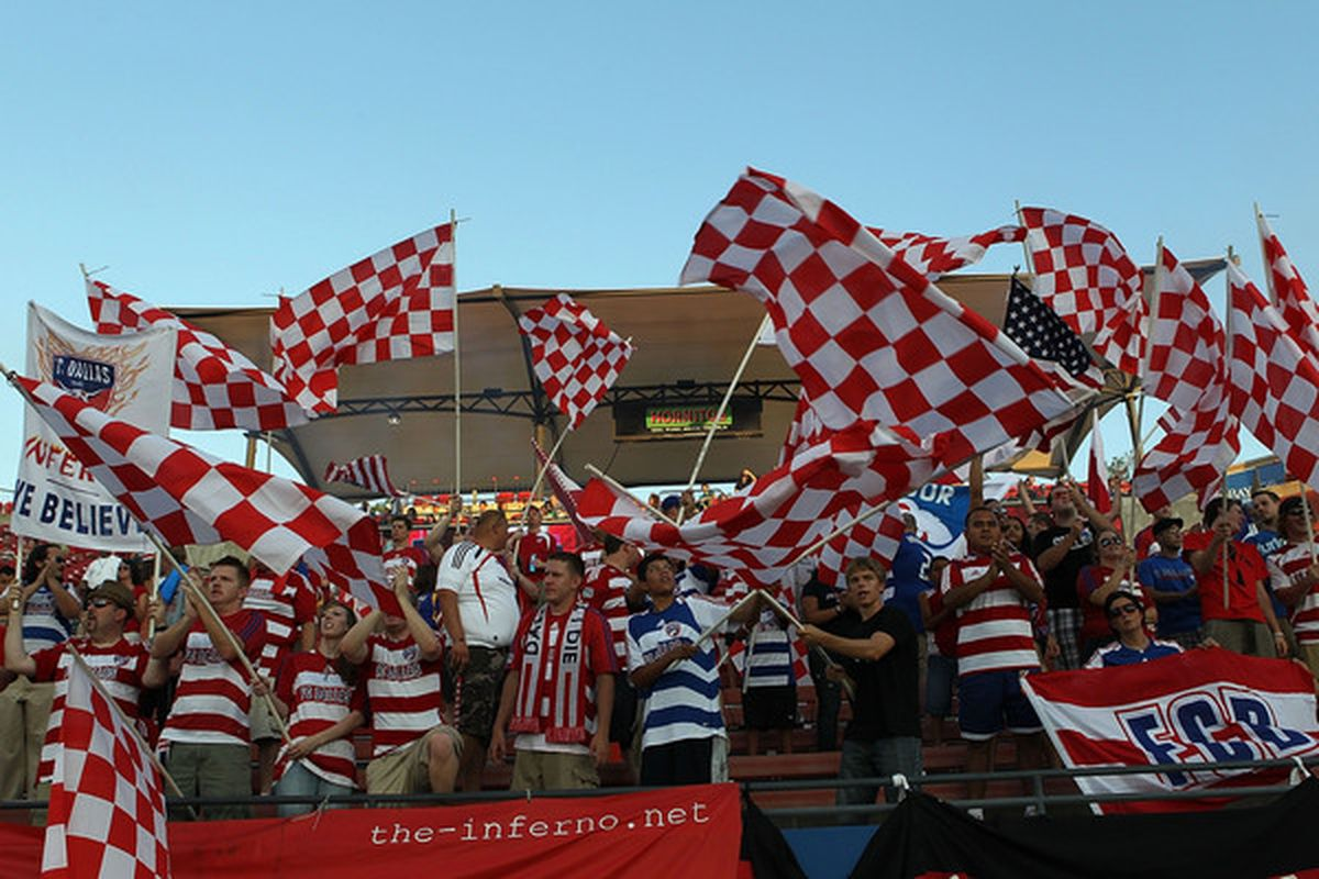 The Inferno and El Matador cheer for FC Dallas during play against Chivas USA at Pizza Hut Park on August 21 2010 in Frisco Texas.  (Photo by Ronald Martinez/Getty Images)