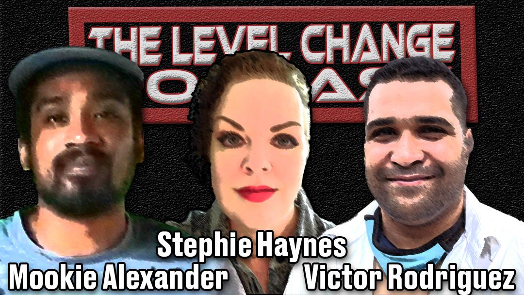 The Level Change Podcast, UFC Podcast, MMA Podcast, Mookie Alexander, Stephie Haynes, Victor Rodriguez, Host Graphic, Host Mock Up, TLC Hosts Image,