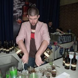 """Mixologist Mike Ryan from Sable Kitchen & Bar serving up the """"Swine and Thine"""" with Zacapa rum, bacon syrup, creme de cacao and housemade chocolate bitters"""