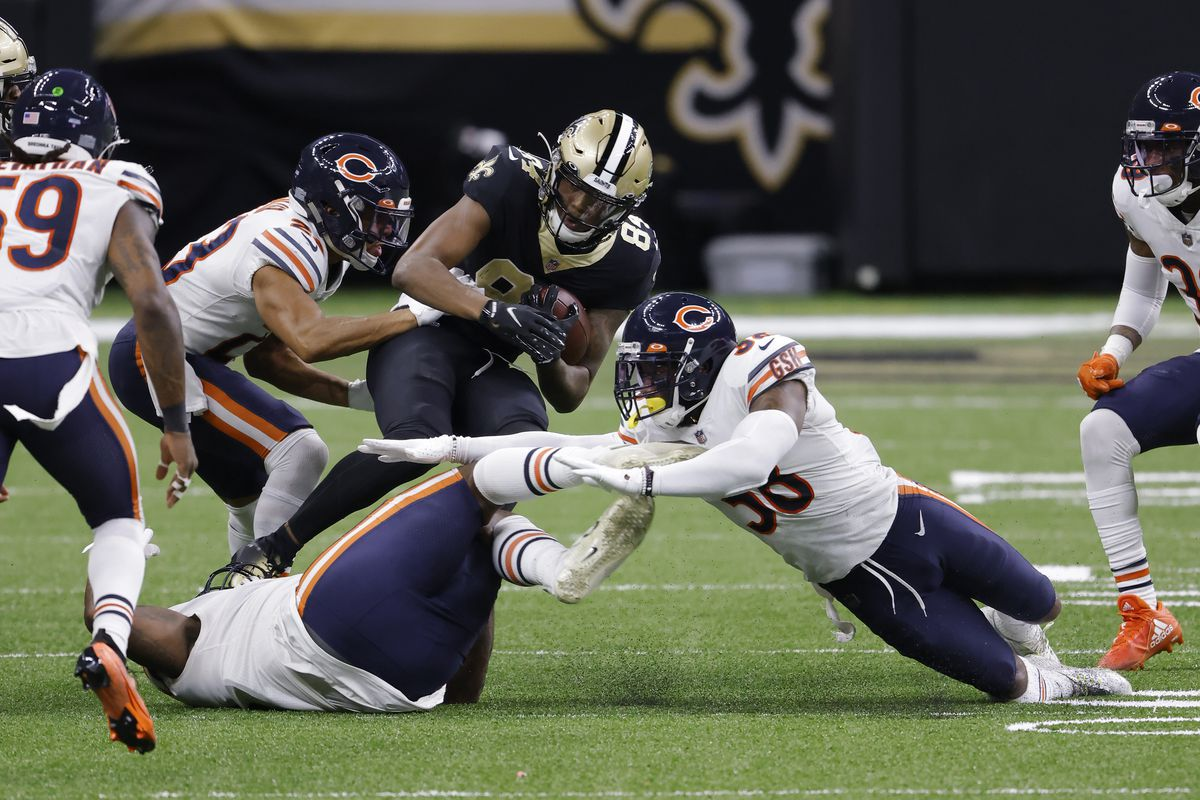 Saints wide receiver Lil' Jordan Humphrey (84) gained 14 yards on a third-and-11 play in the fourth quarter against the Bears on Sunday. It led to Alvin Kamara's three-yard touchdown run that gave the Saints a 21-3 lead.