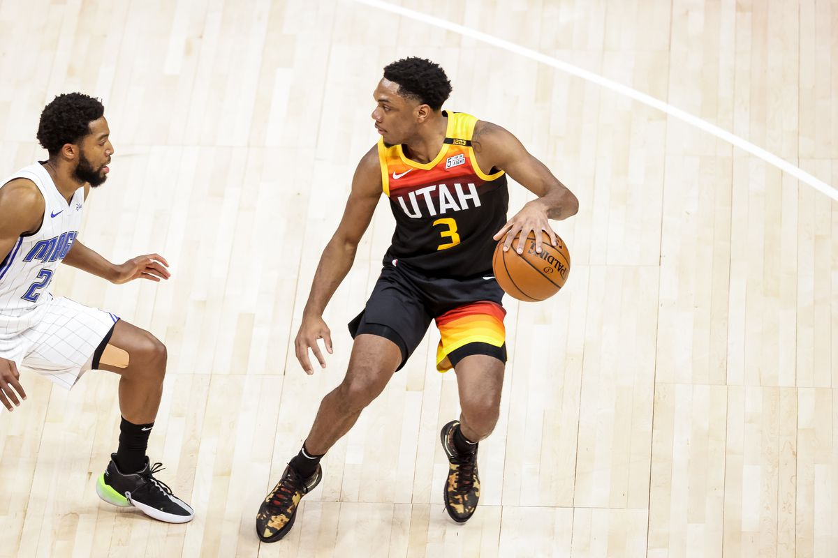 Utah Jazz guard Trent Forrest moves the ball against the Orlando Magic at Vivint Arena in Salt Lake City.